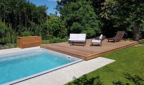 Habillage d'une structure mobile de piscine  + Trappe pool house + coffre de rangement en bois exotique à St Pierre de Chandieu (Rhône - 69)